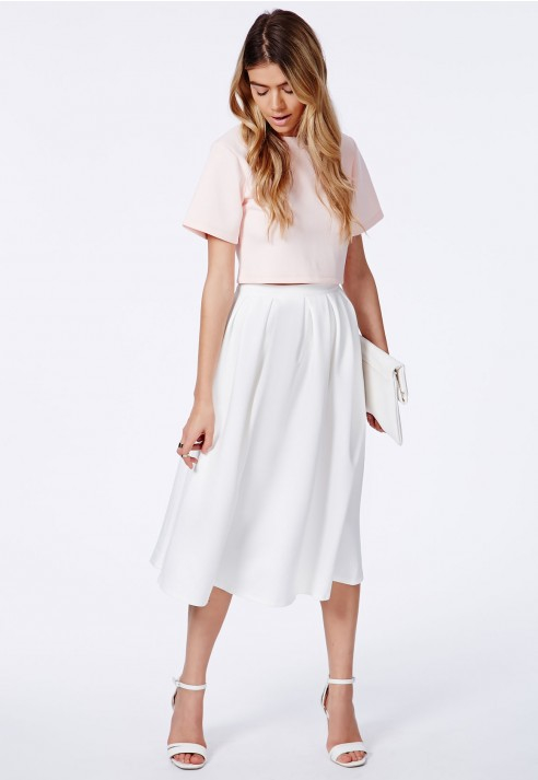Missguided Auberta White Pleated Midi Skirt In Scuba in White | Lyst