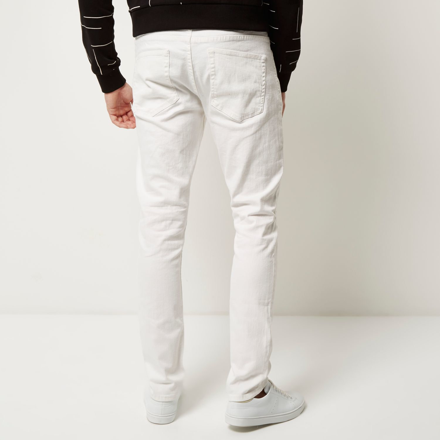 River island White Only & Sons Ripped Knee Skinny Jeans in White ...