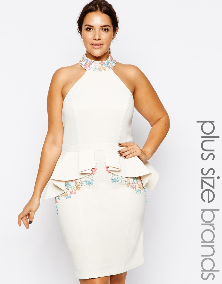 Forever Unique White Plus Size Solange Peplum Dress