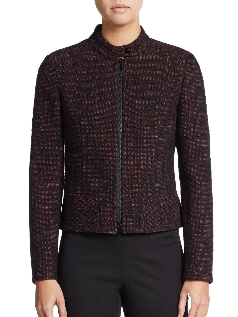 Lyst akris punto tweed tab collar jacket in red for Snap tab collar shirt