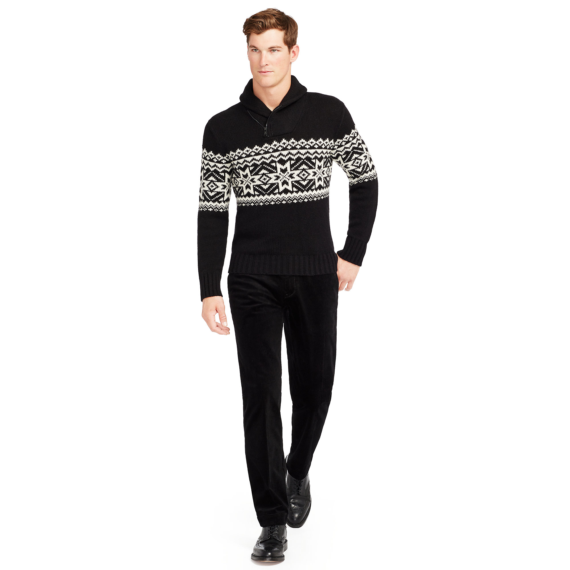 96a4940bec733 Lyst - Polo Ralph Lauren Nordic Cotton-blend Sweater in Black for Men