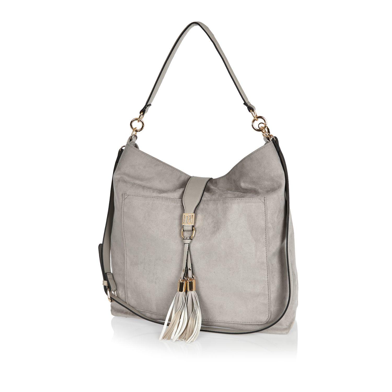 c04df9e316f1 Lyst - River Island Grey Tassel Oversized Slouchy Handbag in Gray