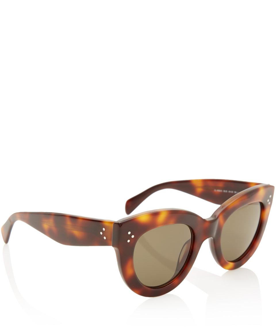 Celine Tortoiseshell Caty Acetate Sunglasses in Brown