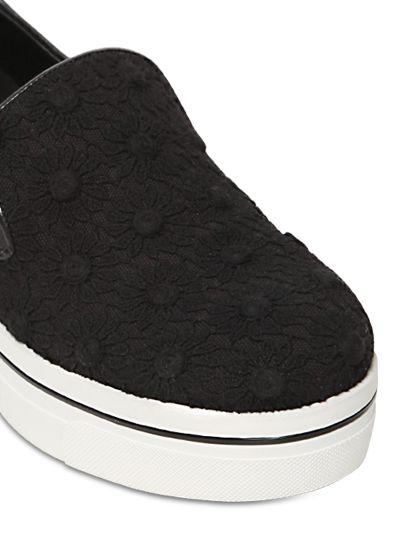 Stella McCartney 60Mm Cotton Macramé Wedge Sneakers in Black