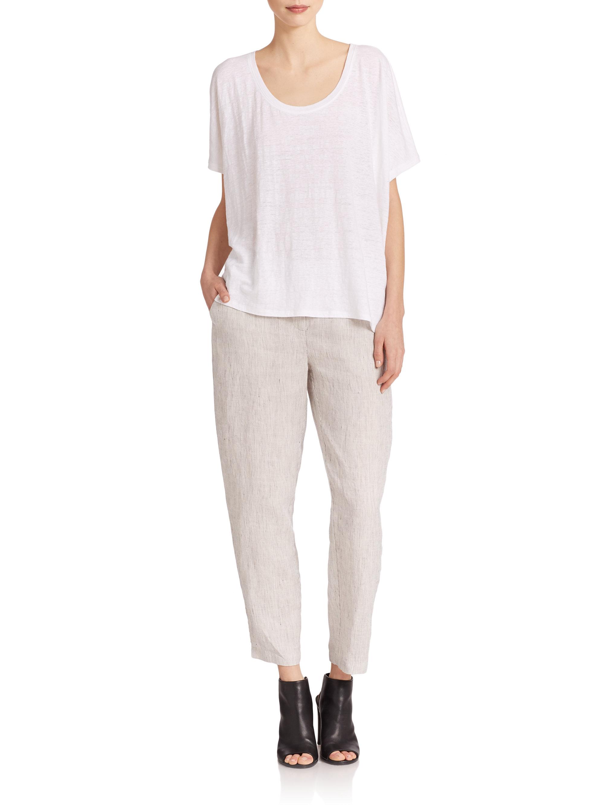 Lyst Eileen Fisher Slub Linen Pants In White