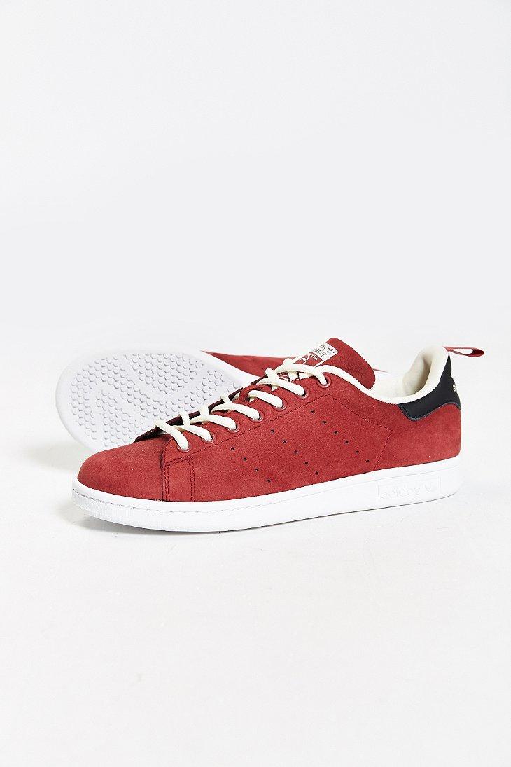 lyst adidas originals stan smith nubuck sneaker in red for men. Black Bedroom Furniture Sets. Home Design Ideas