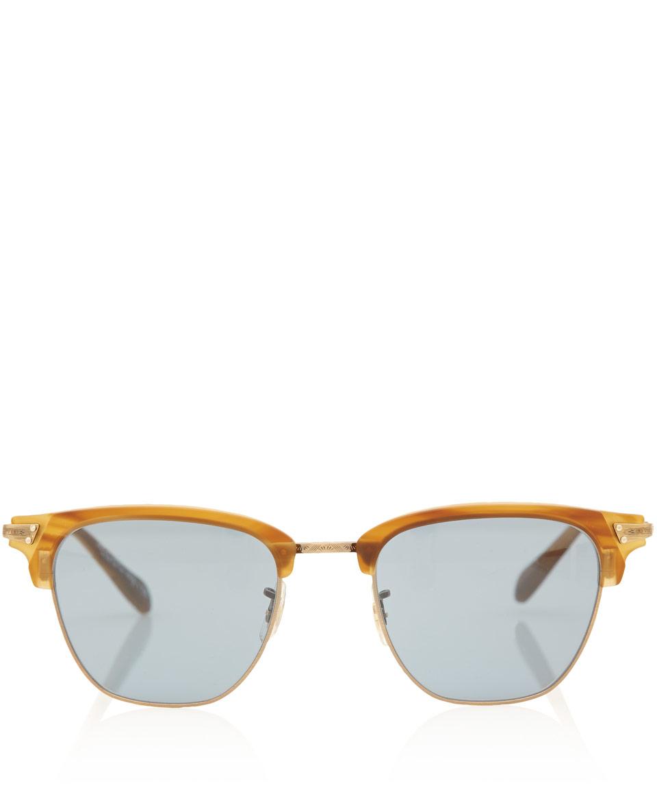 Oliver Peoples Light Brown Banks Half Frame Sunglasses for Men
