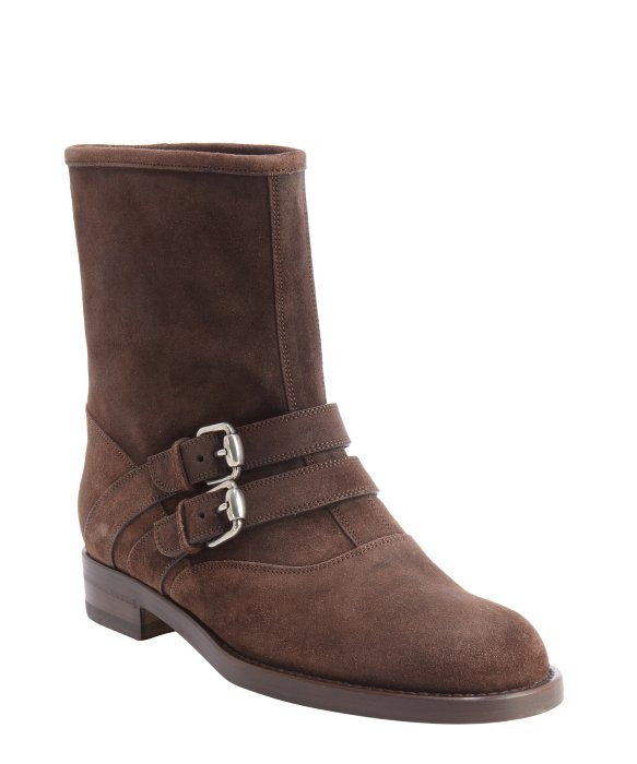 gucci cocoa suede margarett flat boots in brown lyst