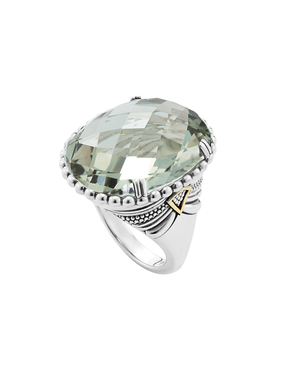 lagos silver green amethyst ring with 18k gold in metallic