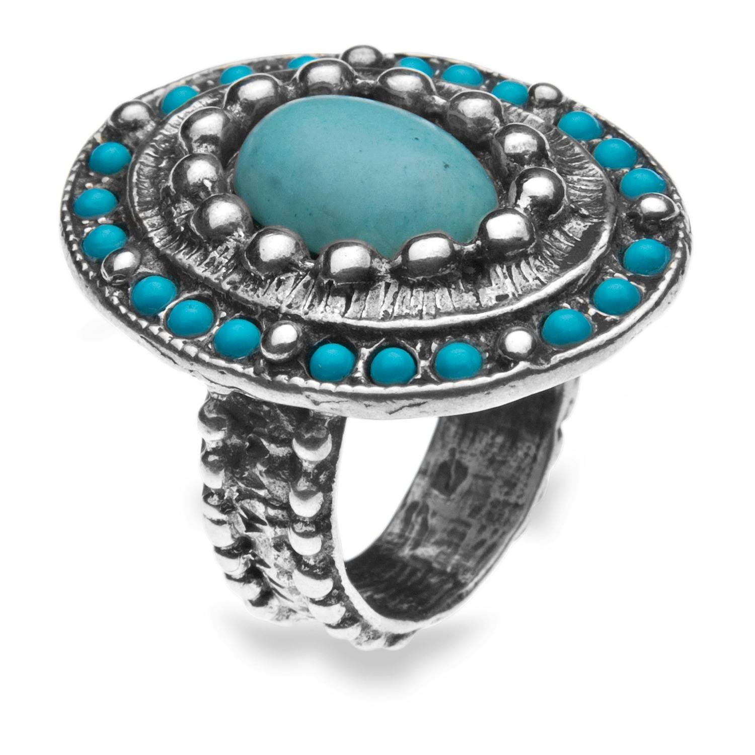 platadepalo american indian turquoise silver ring in blue