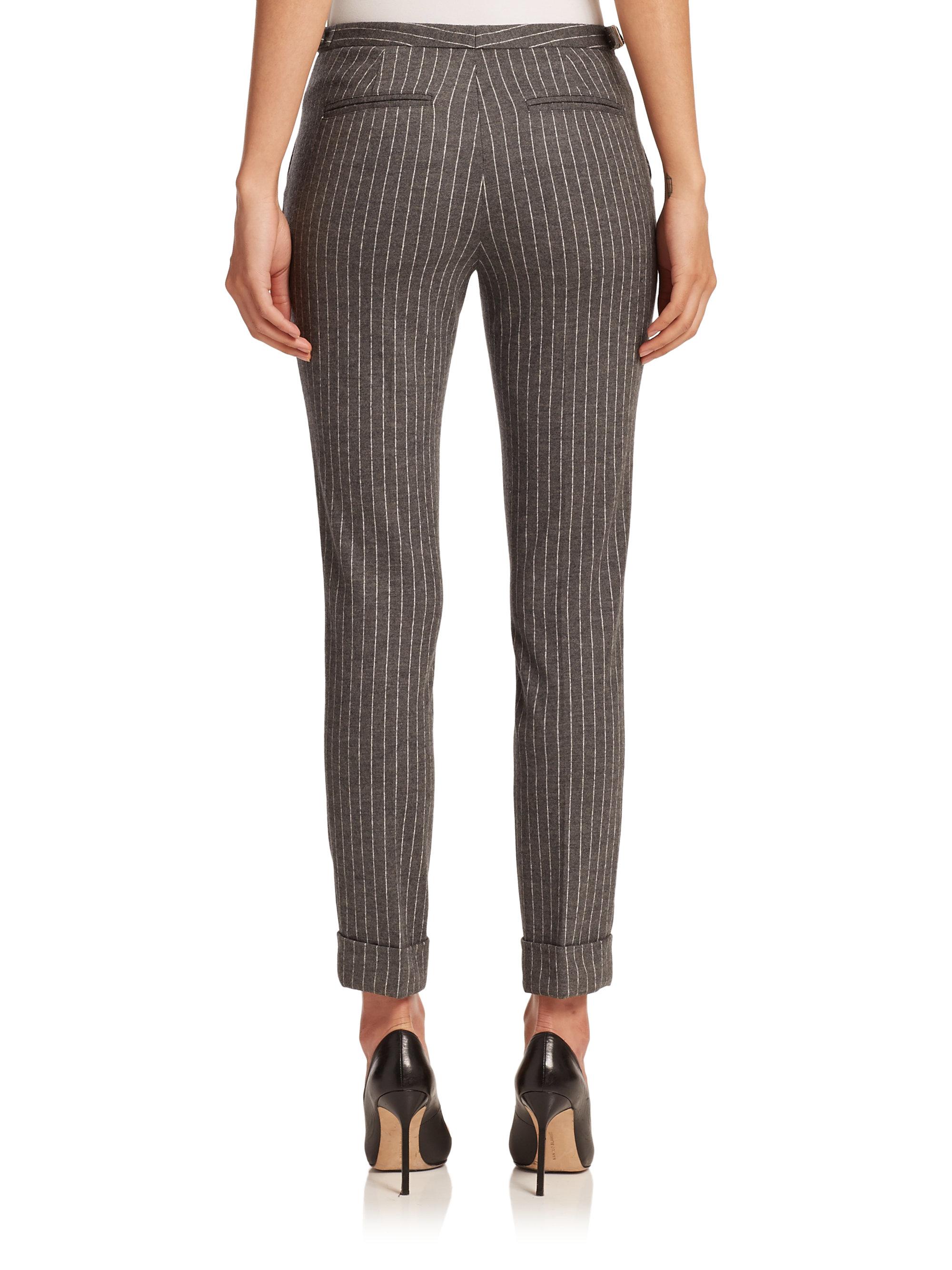 Lyst Atm Adjustable Waist Pinstripe Pants In Gray