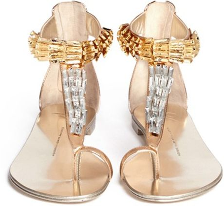 Giuseppe Zanotti Metal Scale Leather Thong Sandals In Gold