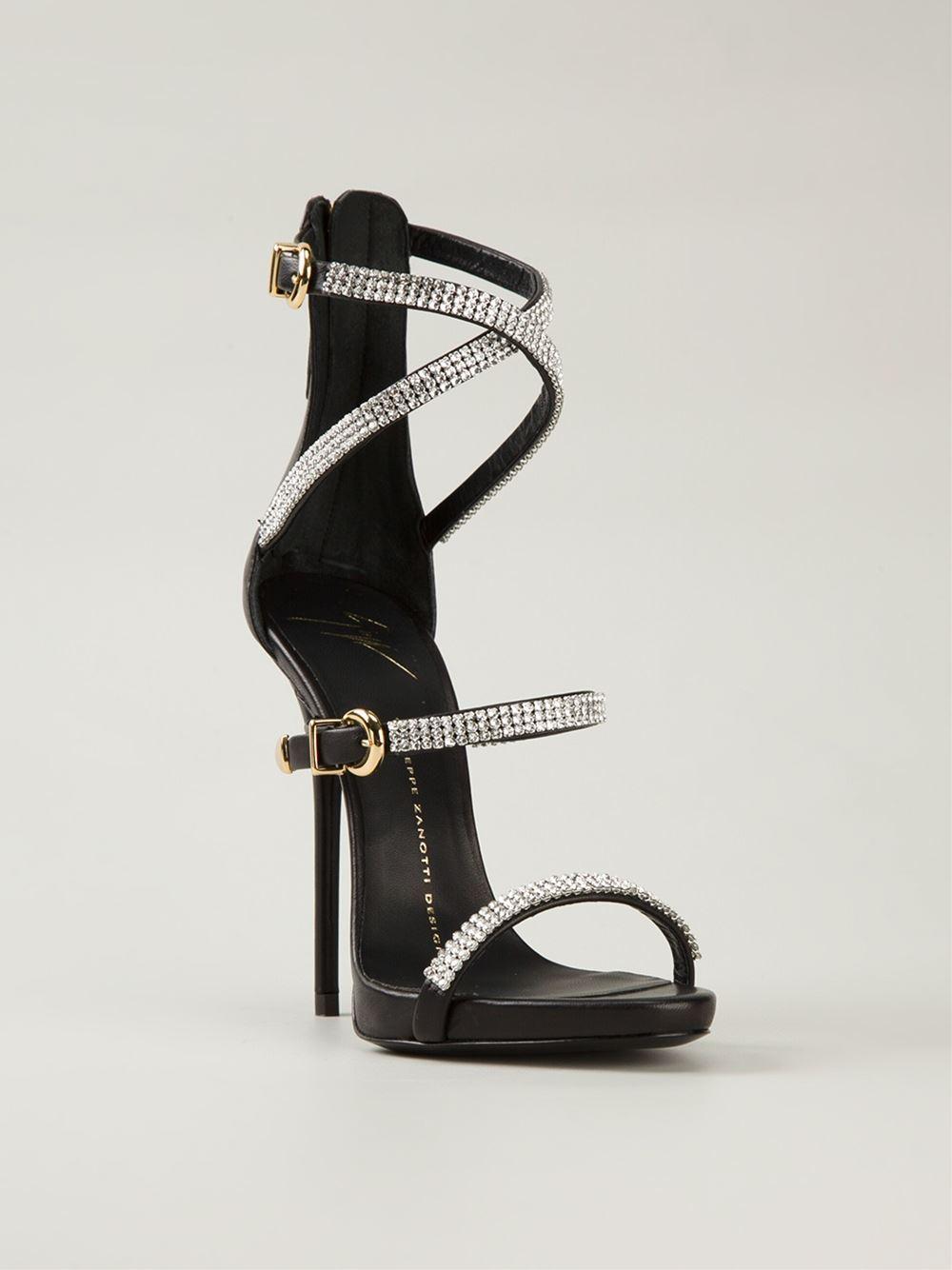 Giuseppe Zanotti Crystal Embellished Sandals In Black Lyst