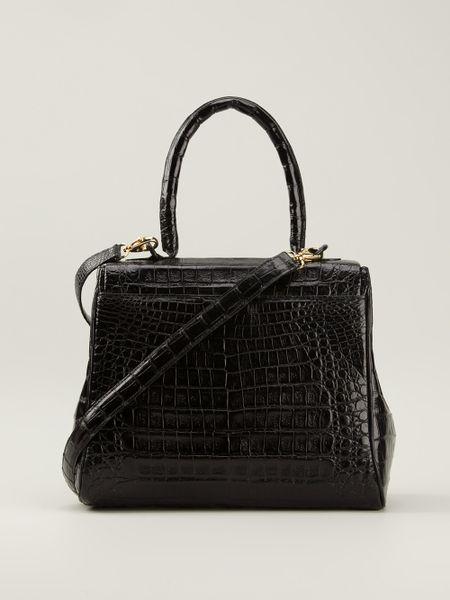 Nancy gonzalez crocodile leather tote in black lyst for Nancy gonzalez crocodile tote