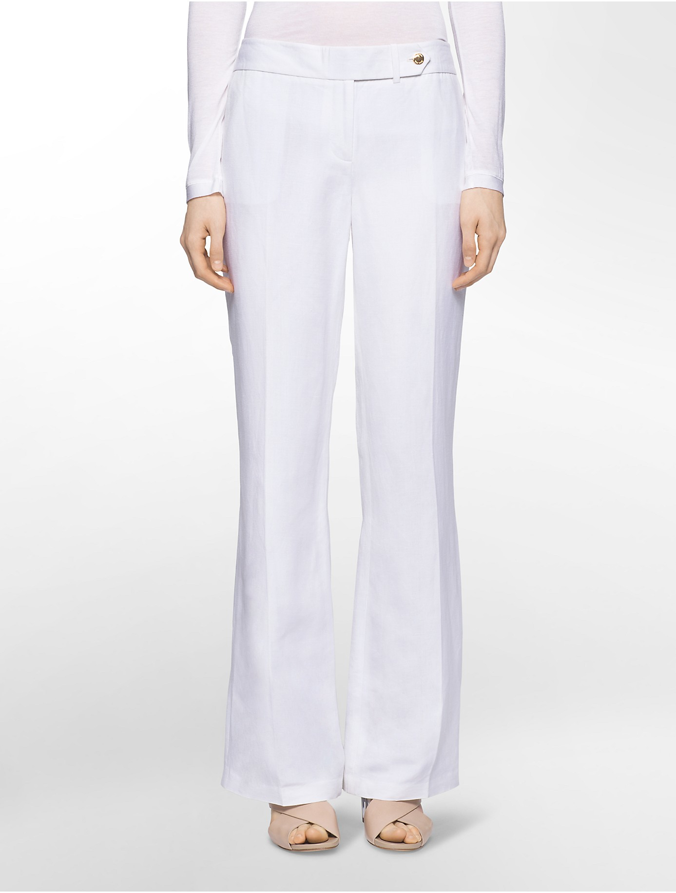 Lyst Calvin Klein Straight Leg Linen Dress Pants In White