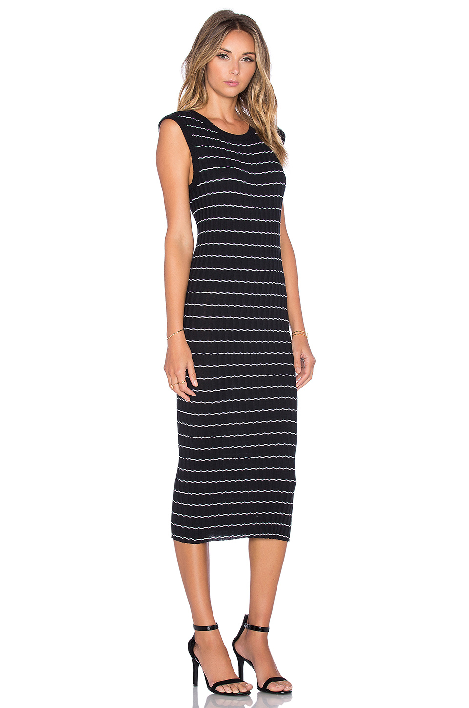 Enza costa Cashmere Muscle Tank Midi Dress in Black | Lyst