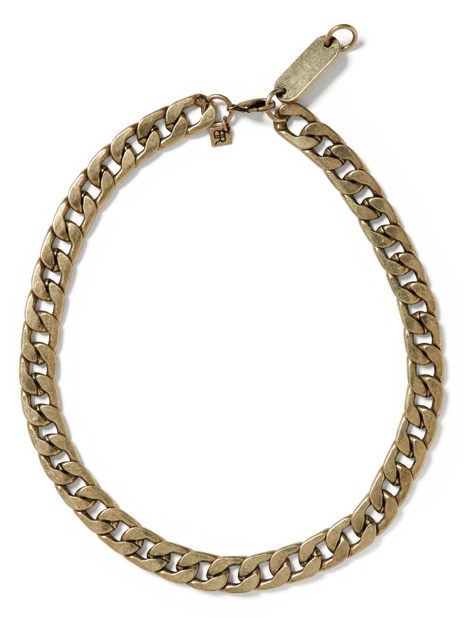 banana republic curb chain necklace in gold brass lyst. Black Bedroom Furniture Sets. Home Design Ideas