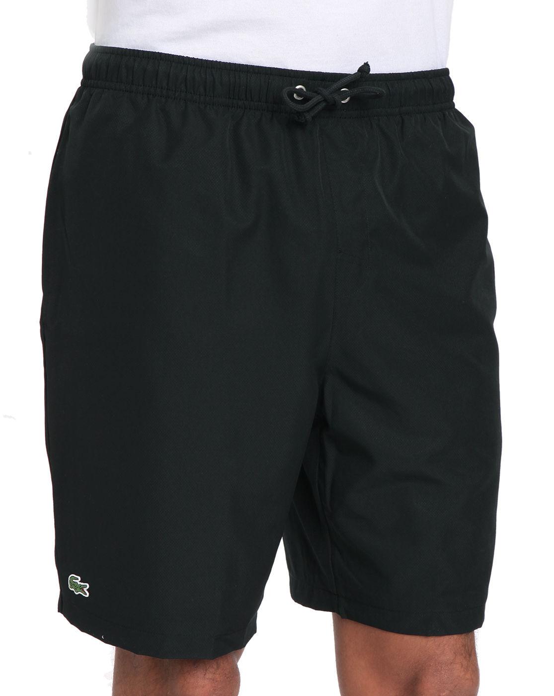lacoste sport black polyester shorts in black for men lyst