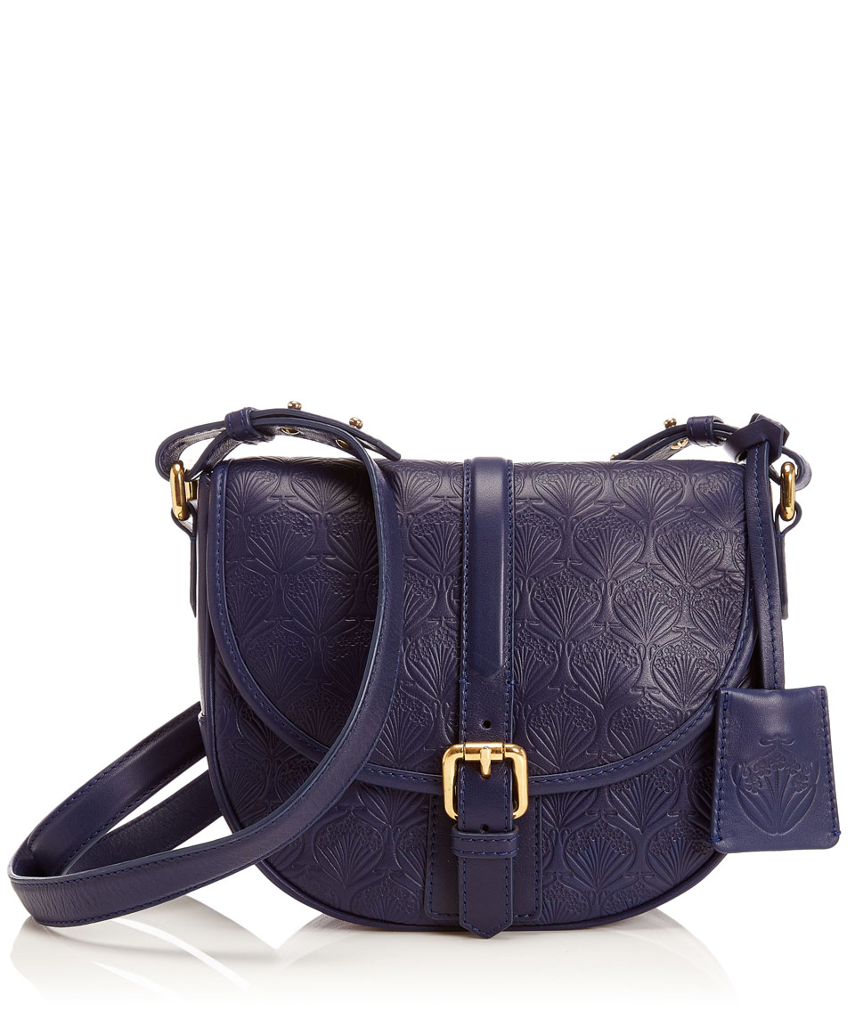 Liberty Navy Iphis Leather Carnaby Crossbody Bag in Blue | Lyst