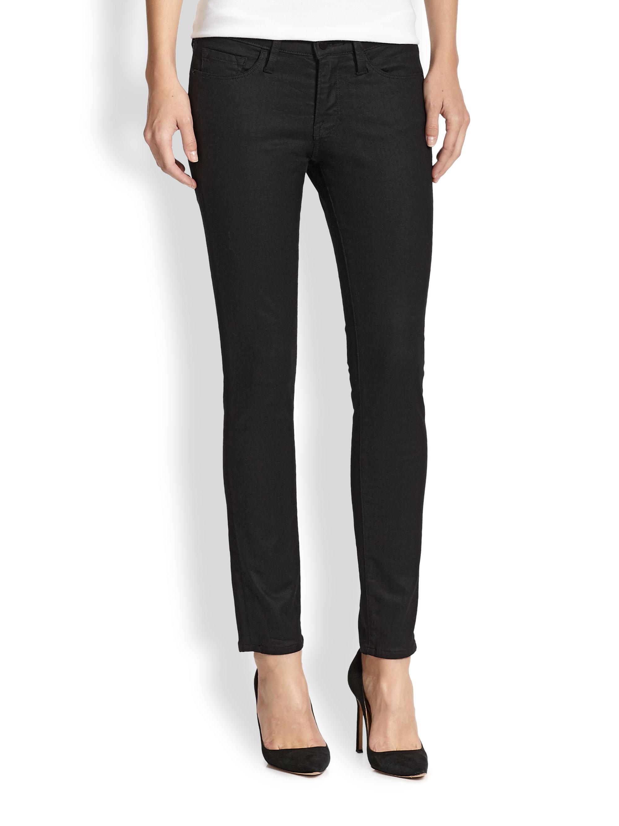 Lyst Frame Le Skinny De Jeanne Coated Jeans In Black