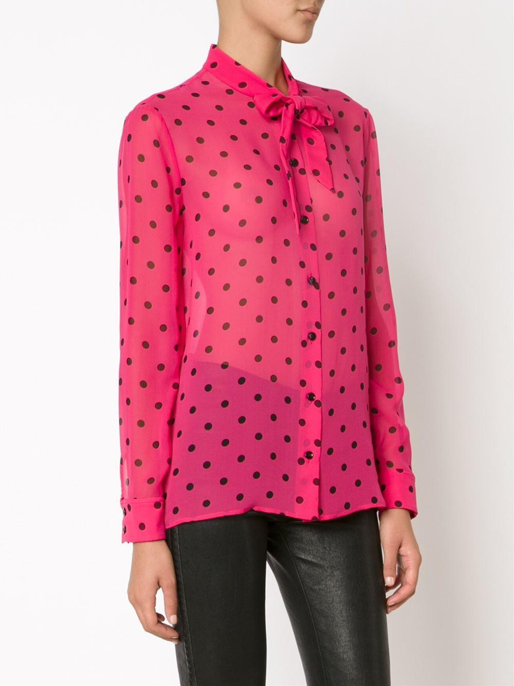 Lyst saint laurent polka dot print shirt in pink for Saint laurent shirt womens