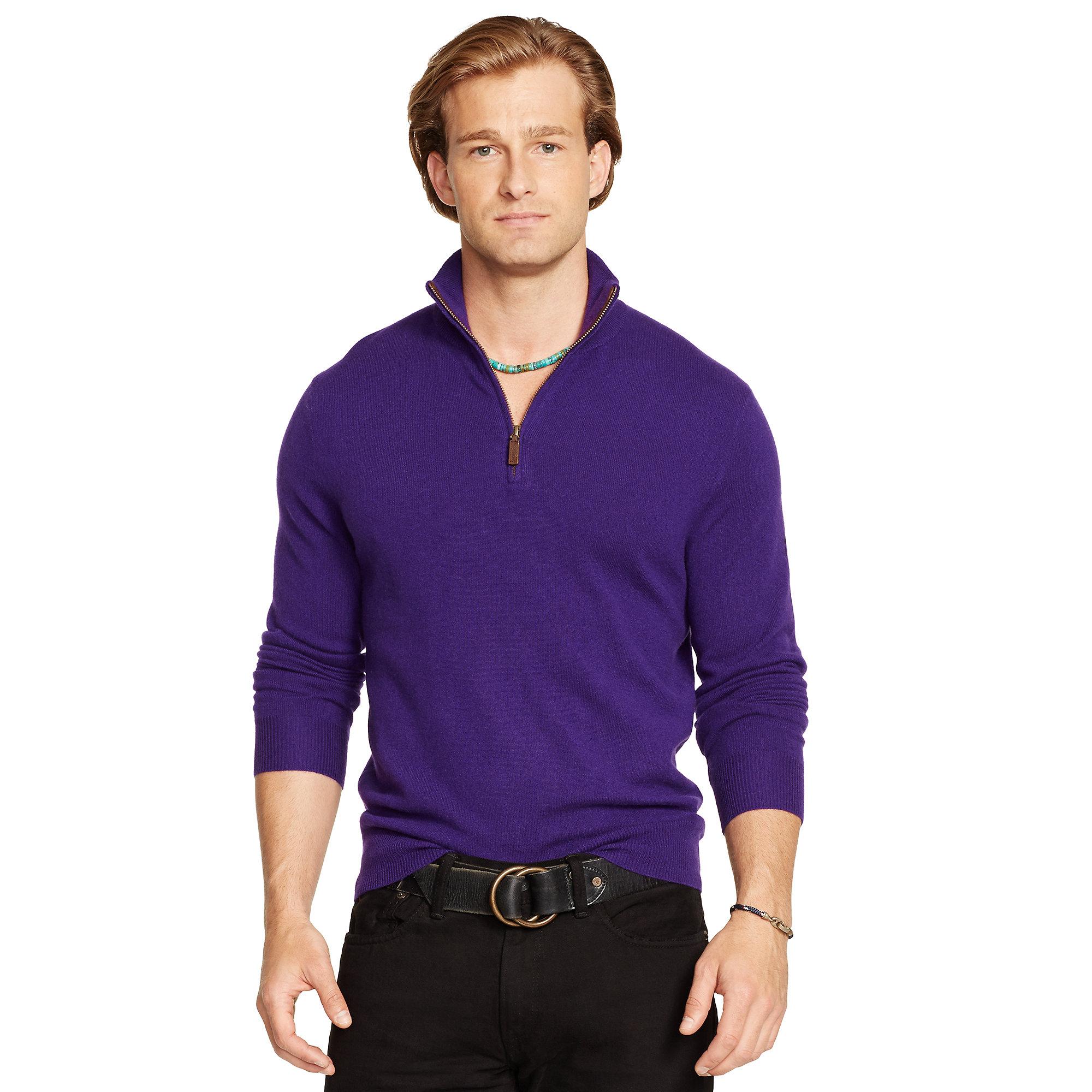Polo ralph lauren Cashmere Half-Zip Sweater in Purple for Men | Lyst