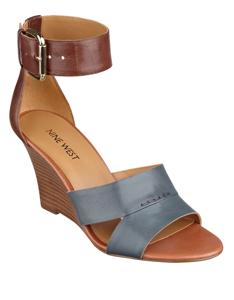 nine west checkmayt leather wedge sandals in blue lyst