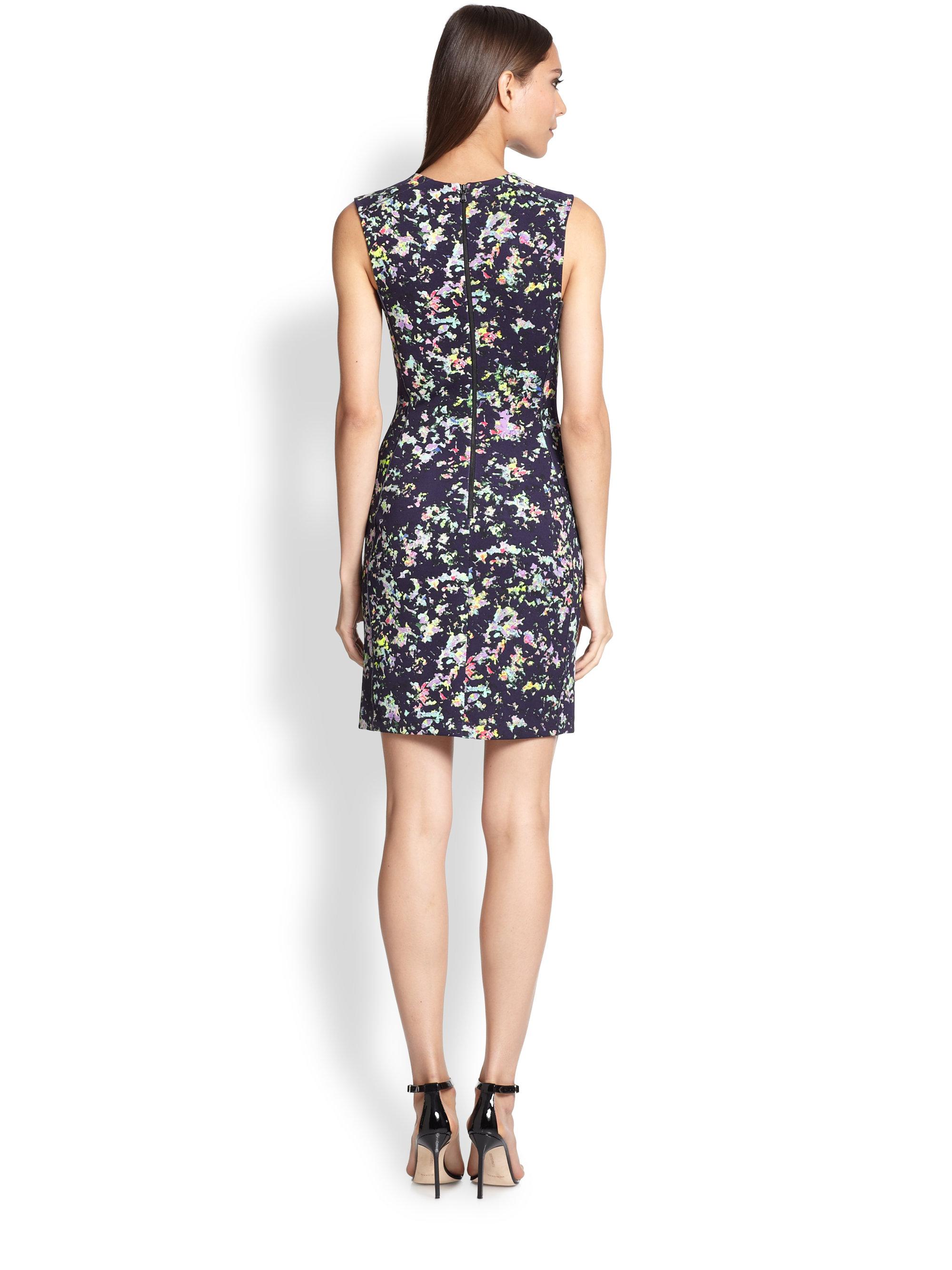 Shoshanna Confetti Print Scuba Dress In Blue Lyst