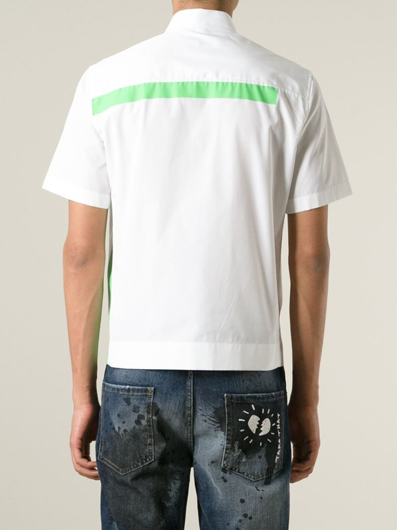 DSquared² Abstract Stripe Shirt in White (Green) for Men