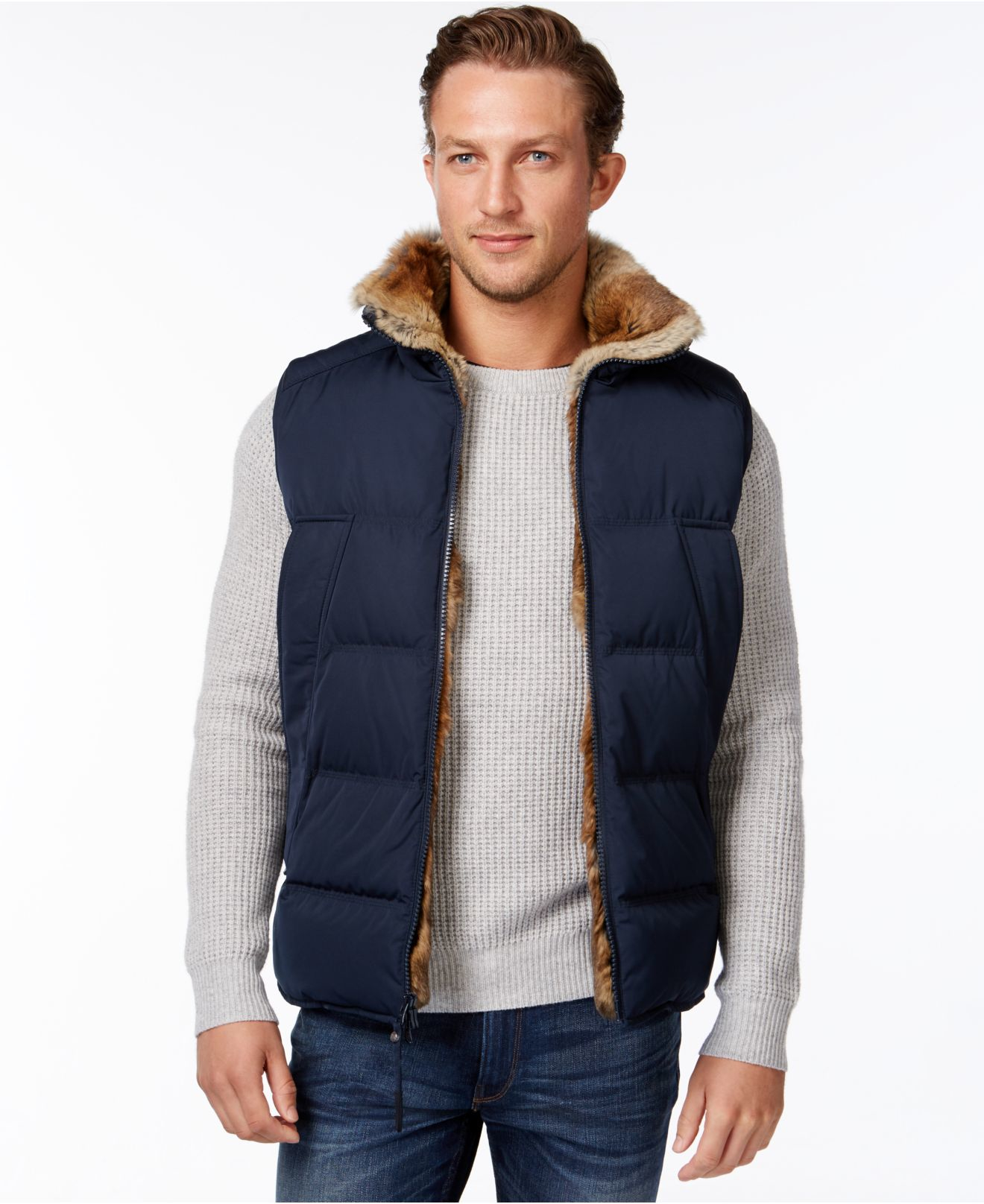 Andrew Marc Esher Quilted Fur Lined Vest In Blue For Men