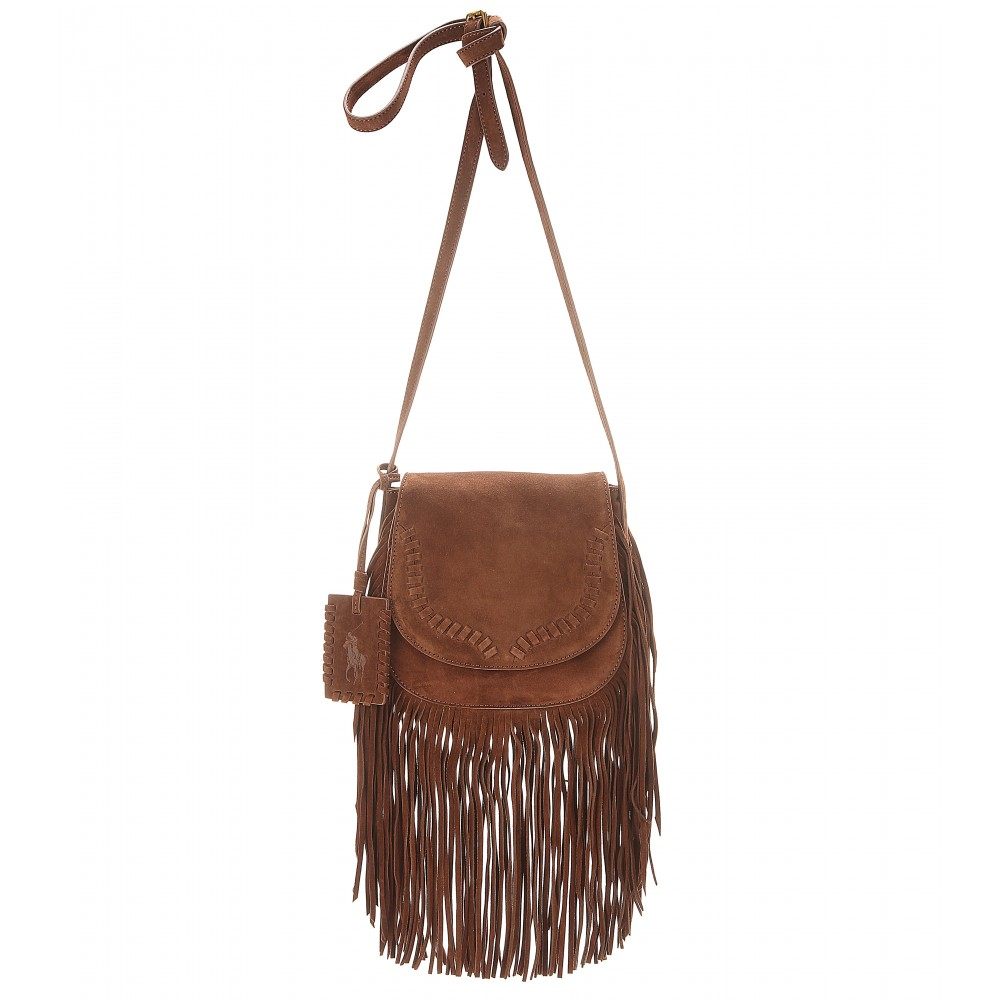 8ab816bc8f Lyst - Polo Ralph Lauren Fringed Suede Shoulder Bag in Brown