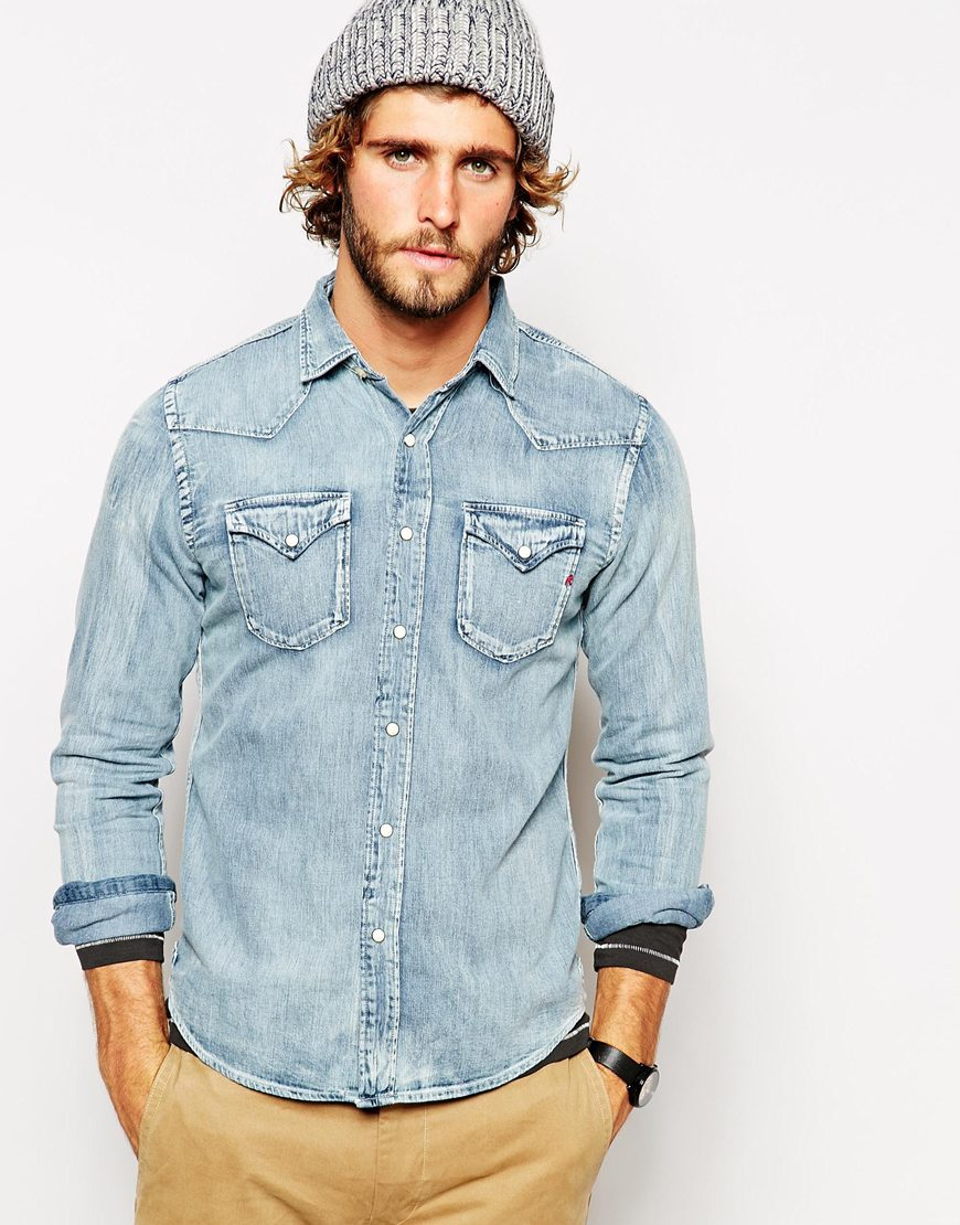 Lyst - Replay Denim Shirt Western Light Wash in Blue for Men