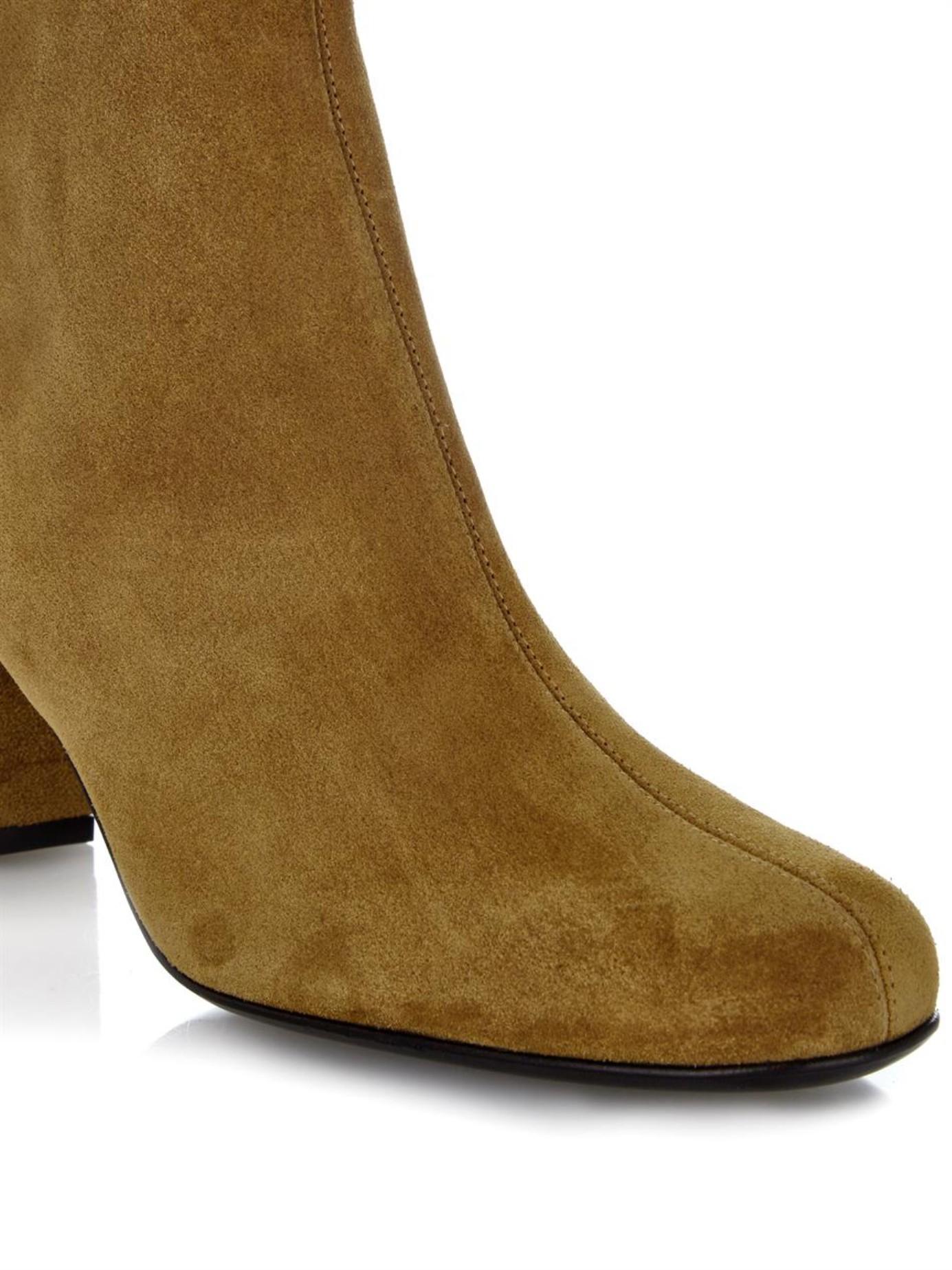 Saint Laurent Babies 70 Block Heel Suede Ankle Boots In