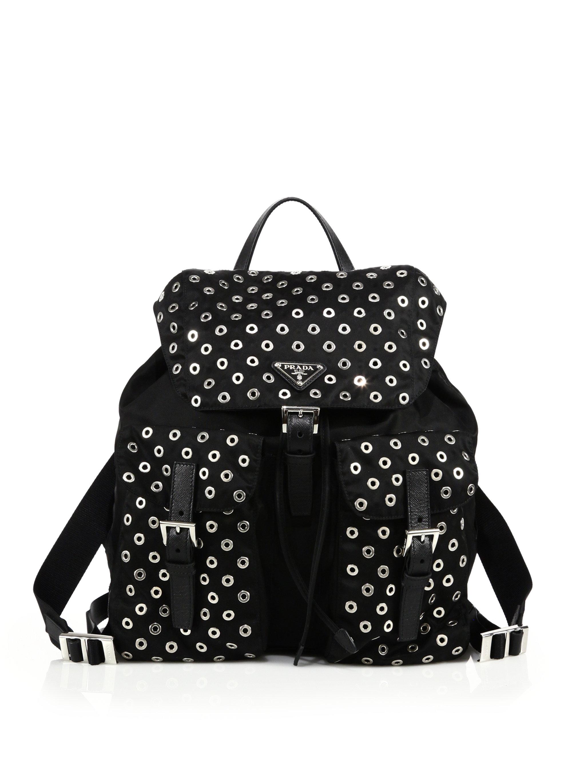 Prada Grommeted Nylon Backpack in Black | Lyst