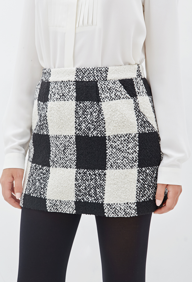 4c15715404 Forever 21 Plaid Bouclé Mini Skirt in Natural - Lyst