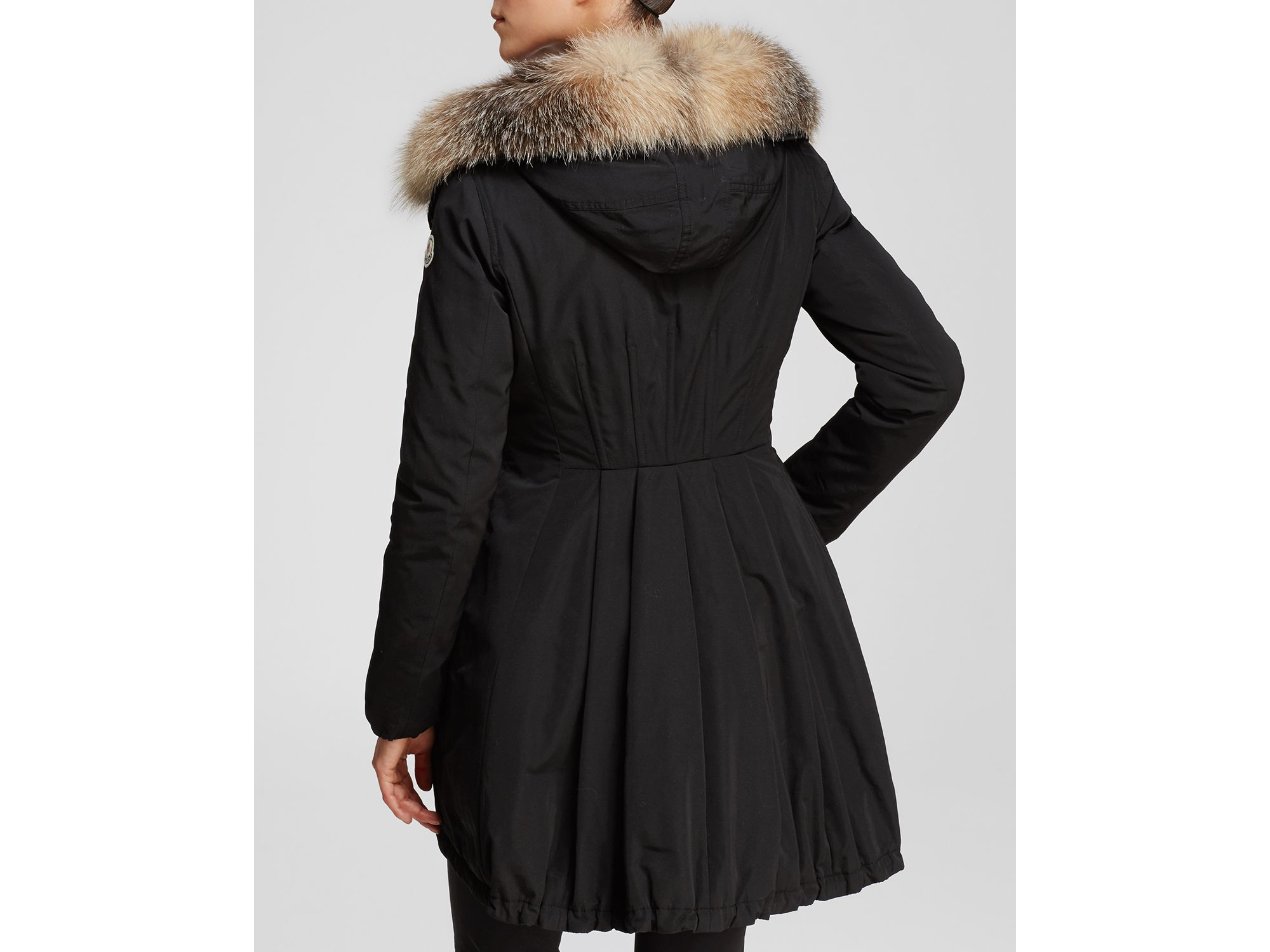 eb165da4c Moncler Black Arriette Down Anorak With Fur Trim