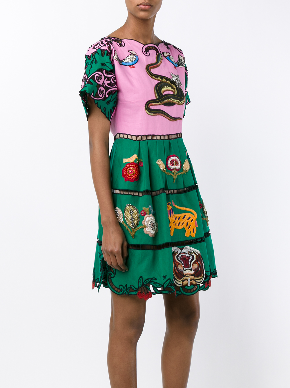 fbe828998 Gucci Animal Embroidered Dress in Green - Lyst