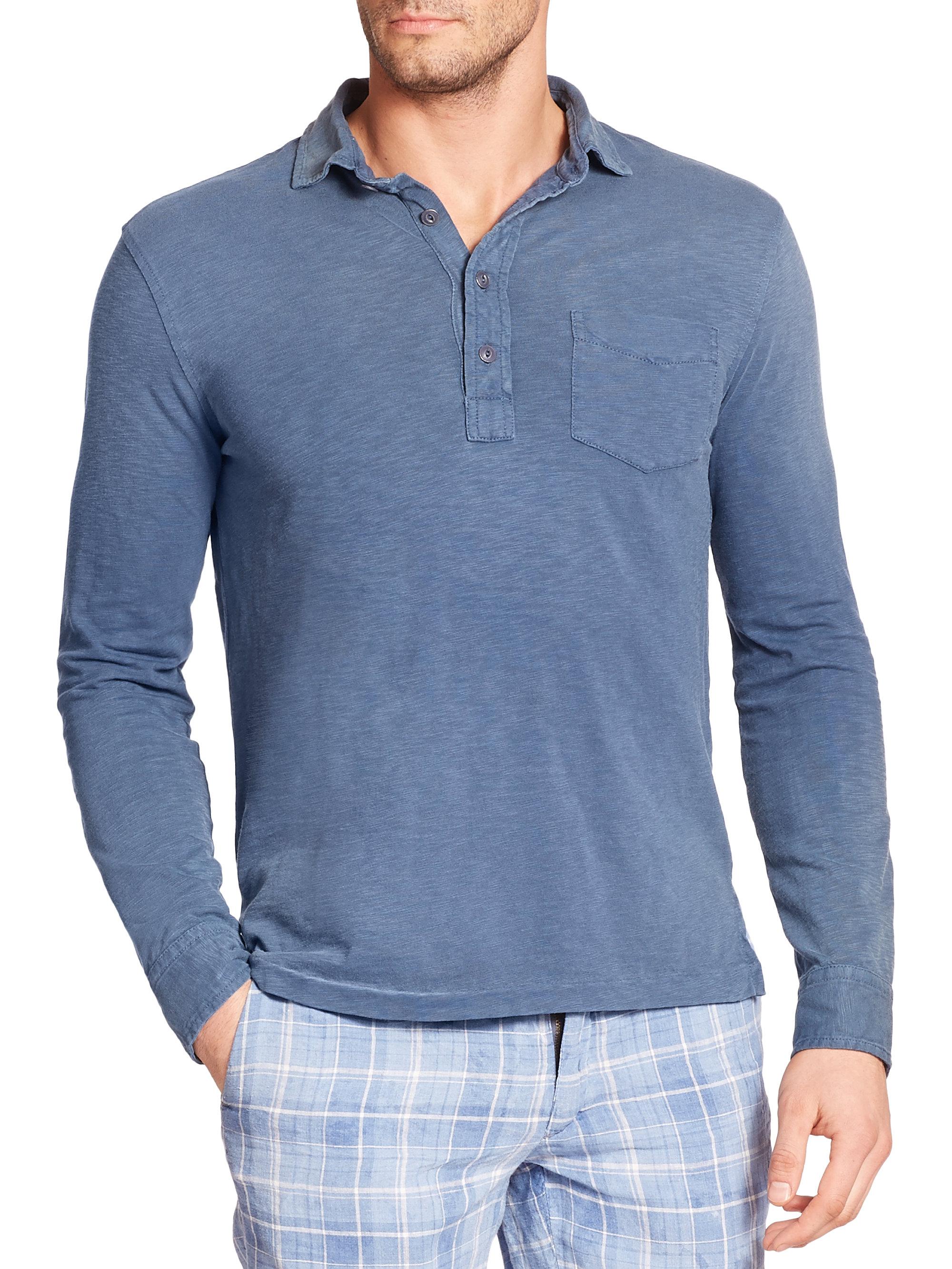 Polo ralph lauren jersey estate shirt in blue for men lyst for Ralph lauren polo jersey shirt