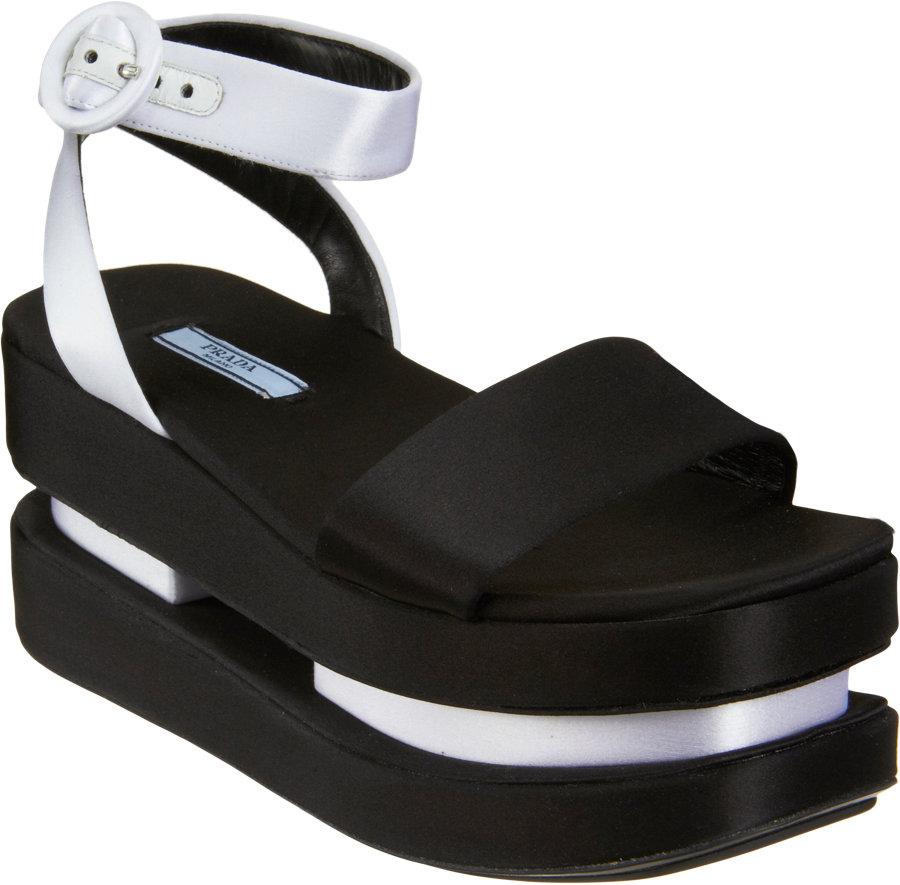 Prada Double Geta Style Platform Sandal In Black Lyst