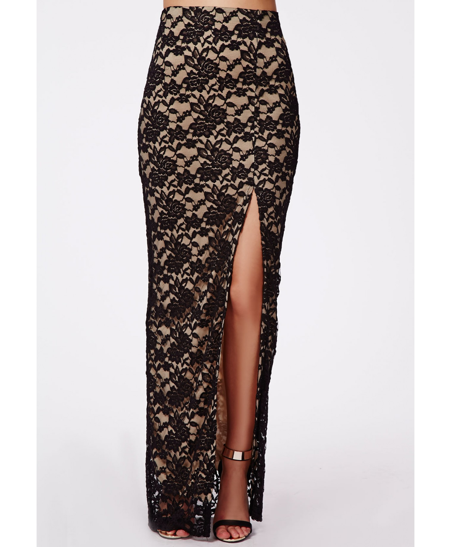 missguided klaris thigh split lace maxi skirt black in
