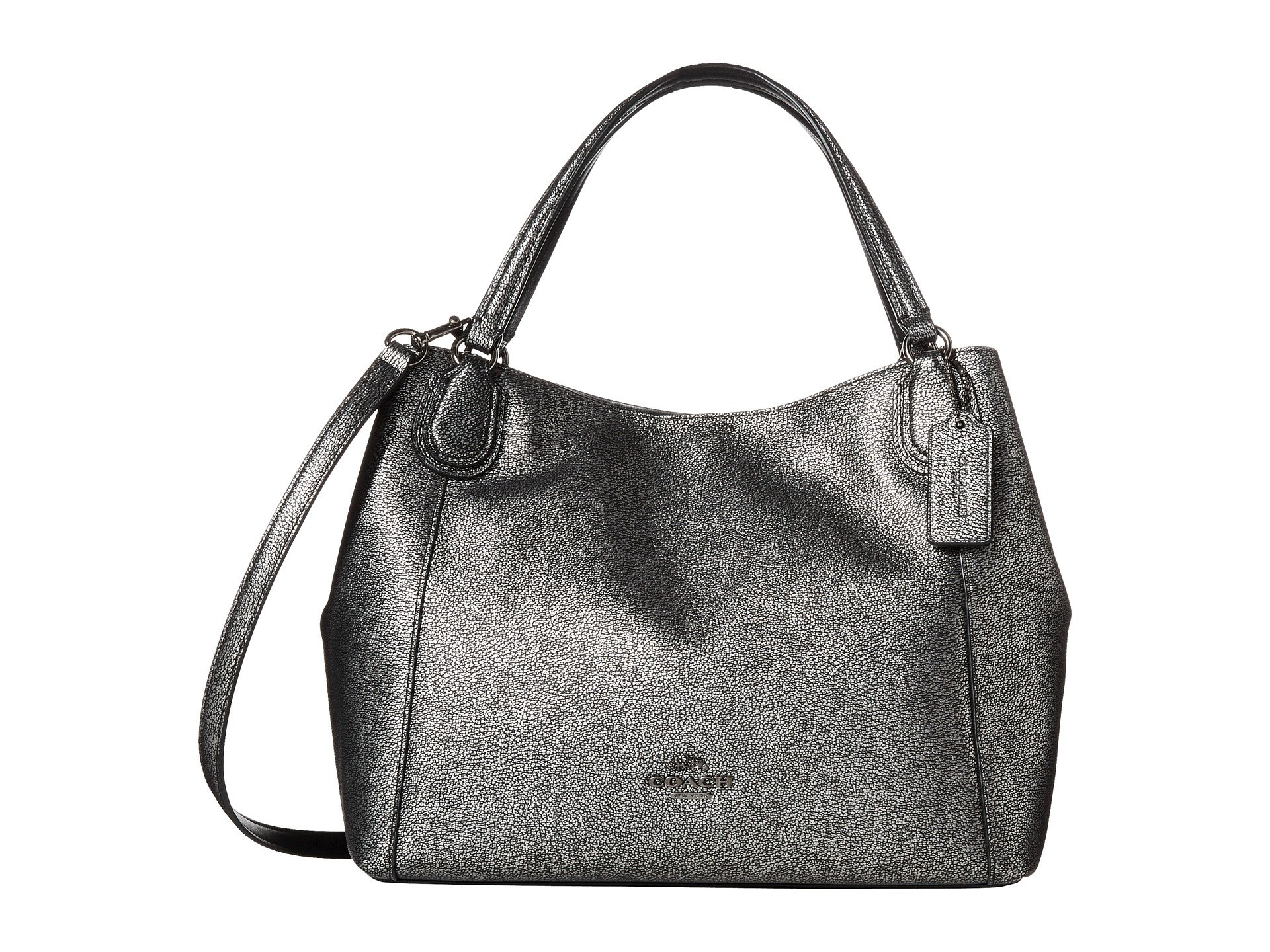 Coach Metallic Pebble Leather Edie 28 Shoulder In Gray Lyst