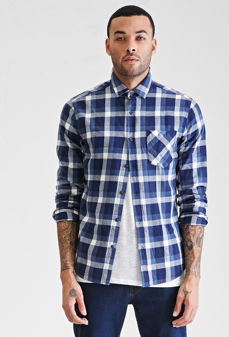 Forever 21 slim fit plaid shirt in blue for men lyst for Mens slim fit flannel shirt