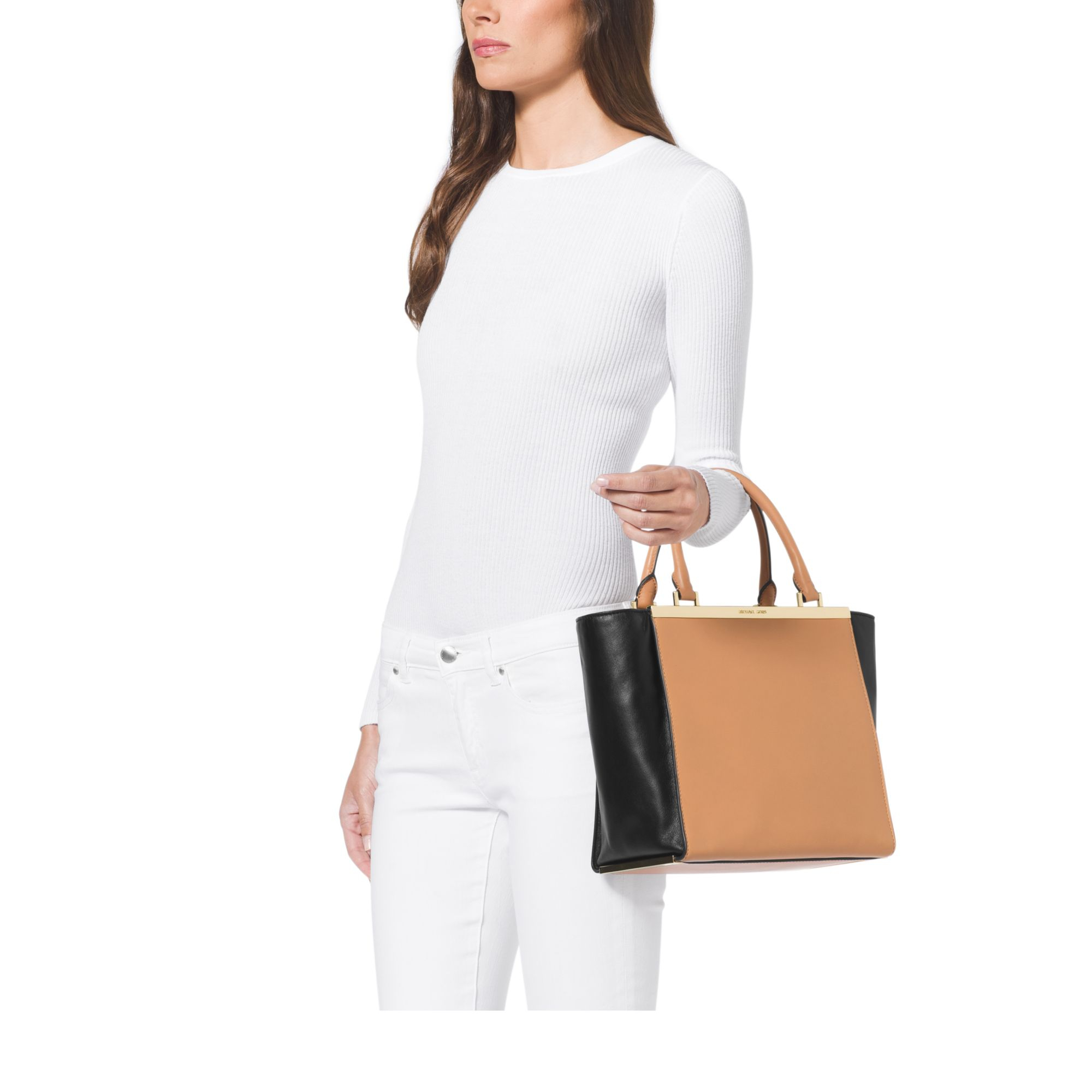79f9bb700bbea2 Michael Kors Lana Medium Color-Block Leather Tote in Natural - Lyst
