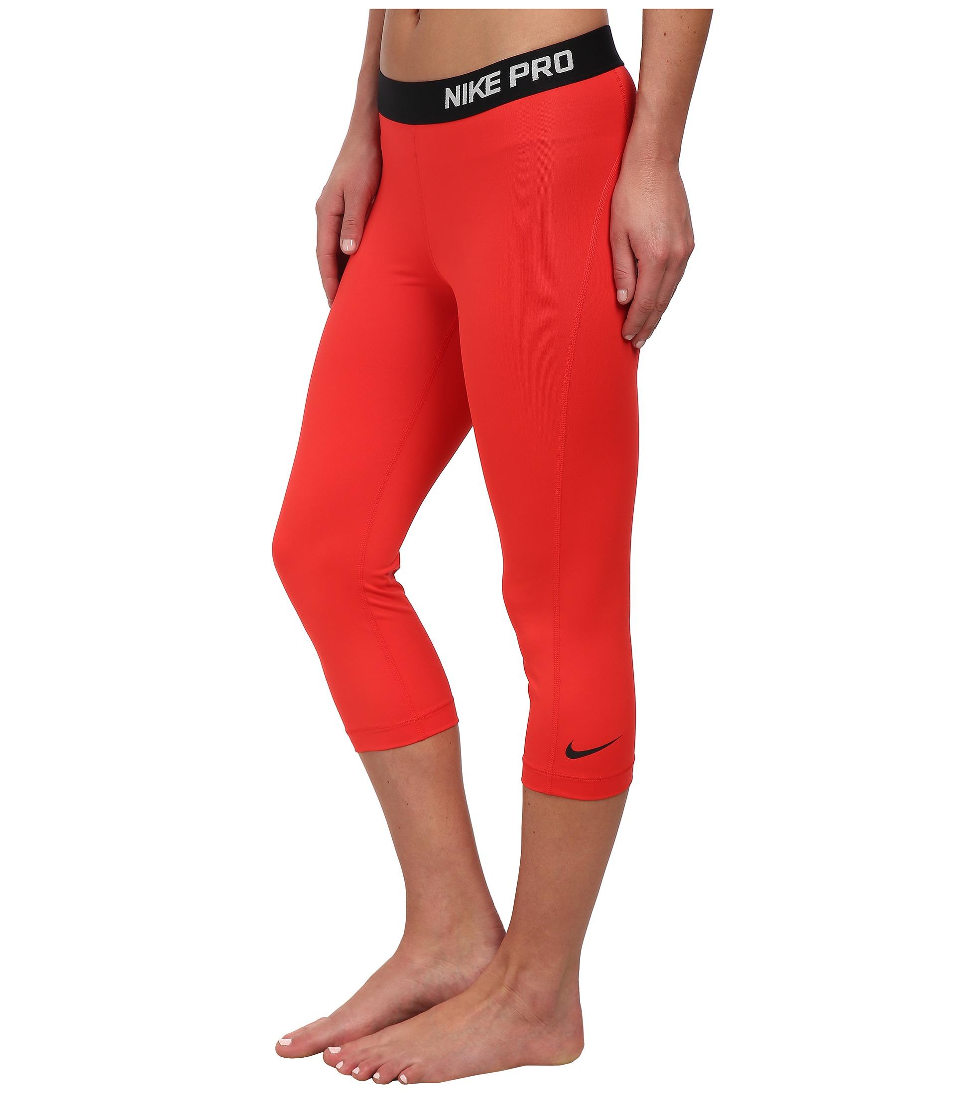 Nike Pro Capri in Red | Lyst