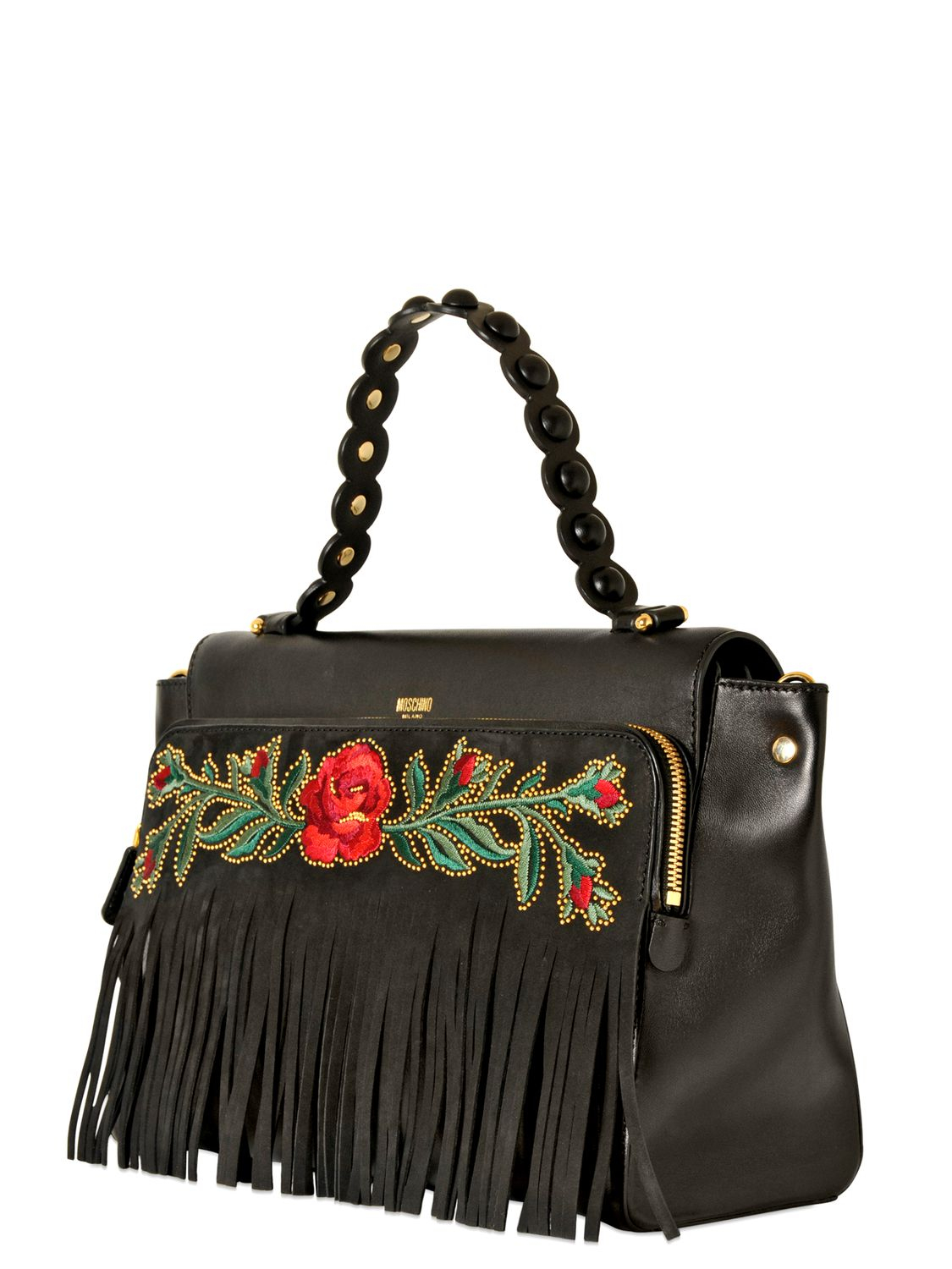 Lyst Moschino Babe Fringes Embroidered Leather Bag In Black