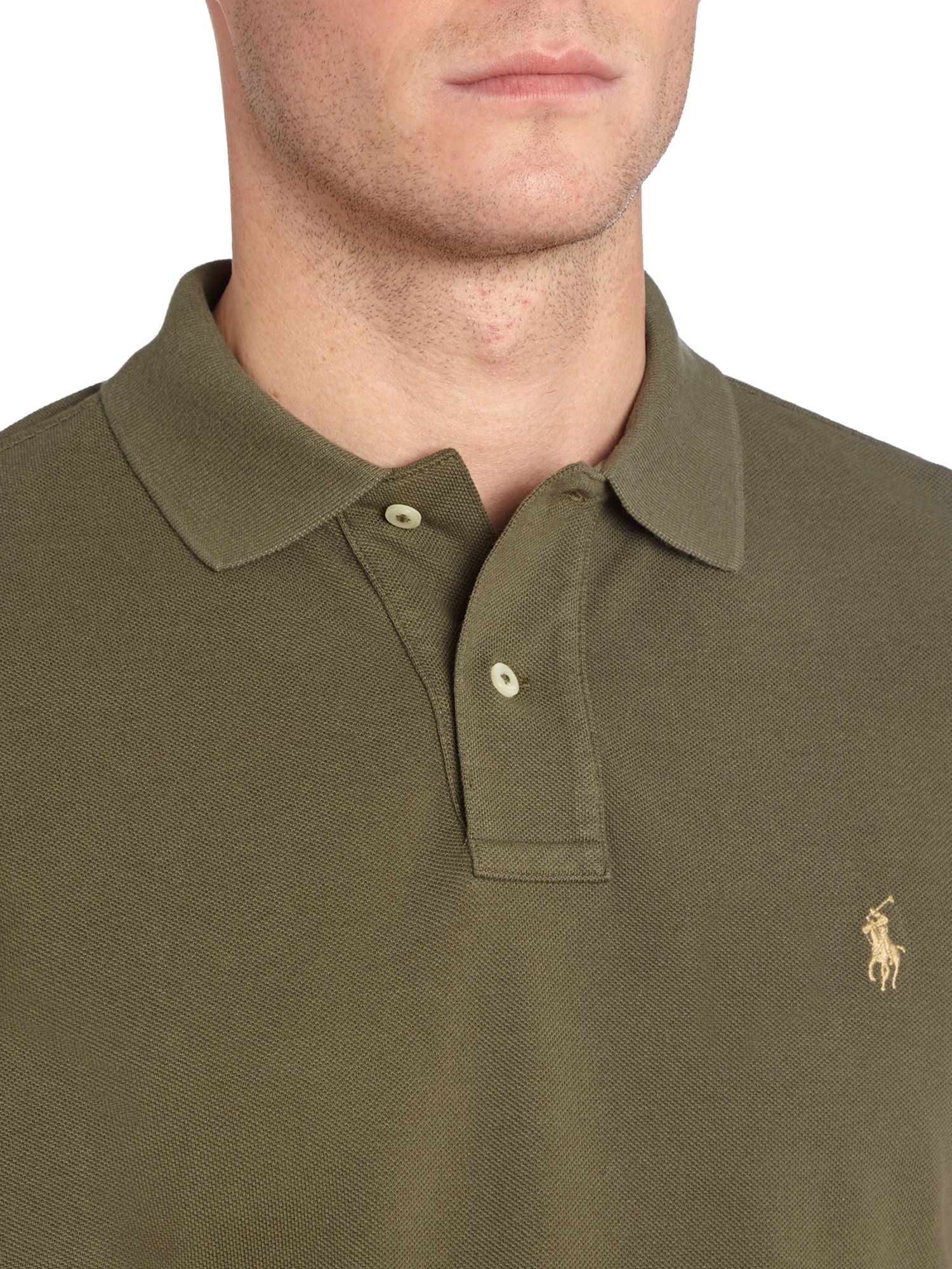 Polo ralph lauren Custom Fit Mesh Polo Shirt in Green for Men | Lyst