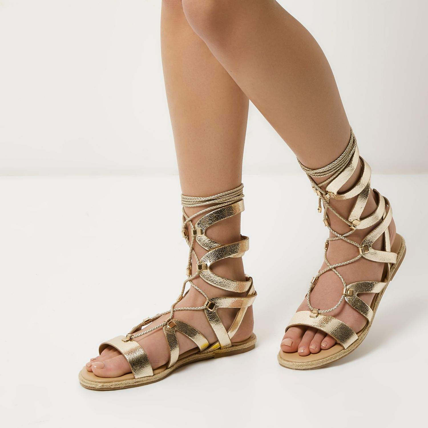 River Island Metallic Gold Lace Up Gladiator Sandals Lyst