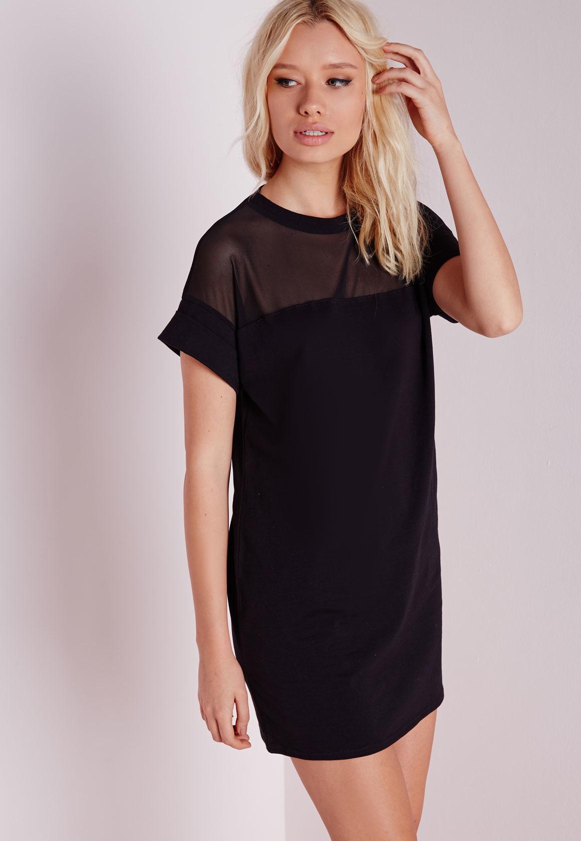 b8714e8472d Missguided Mesh Panel T-shirt Dress Black in Black - Lyst