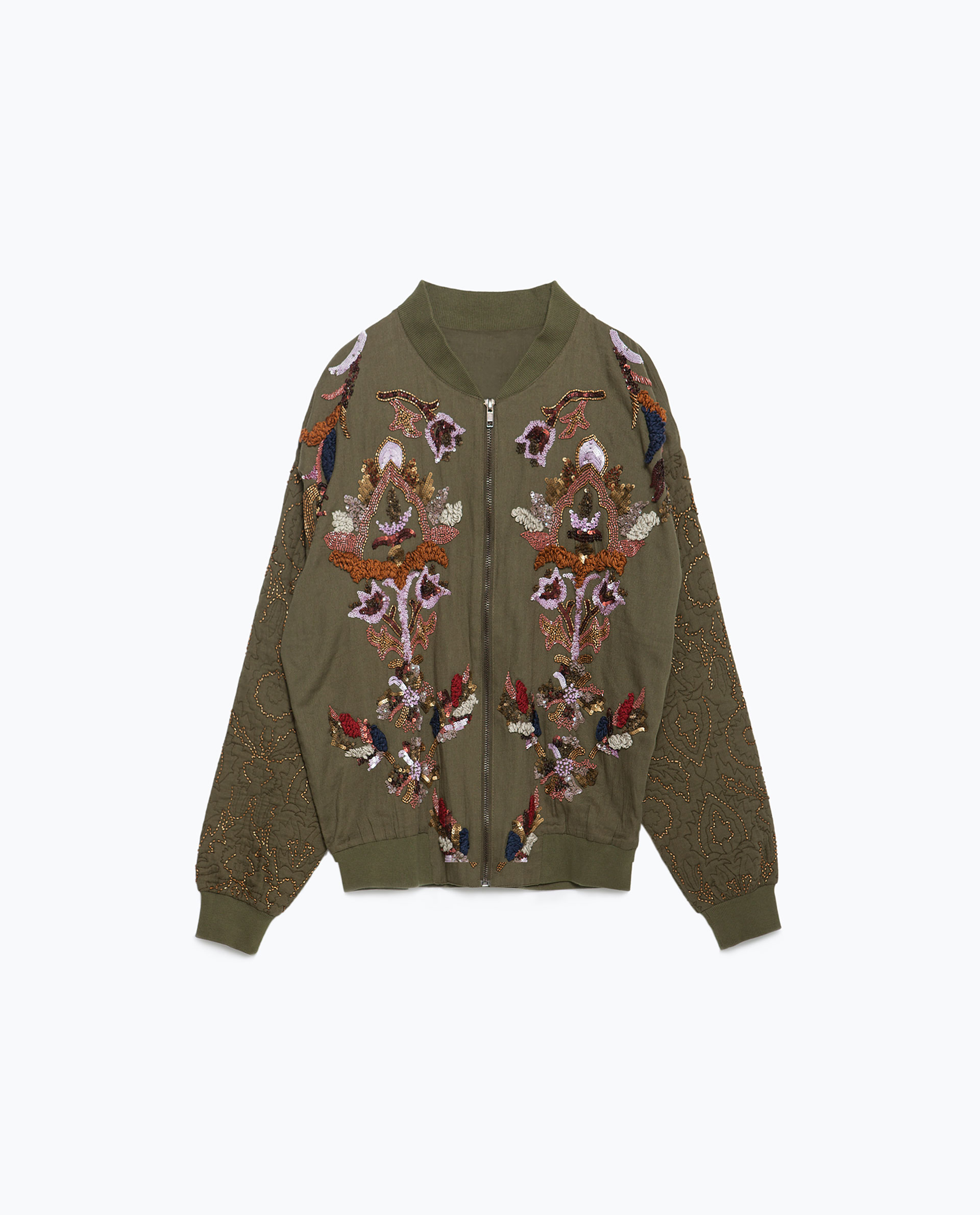 Zara embroidery and sequins jacket in green lyst
