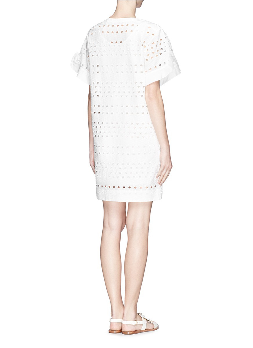 See By Chlo 233 Eyelet Cutout Cotton Poplin Dress In White Lyst